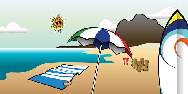 kreslená pláž